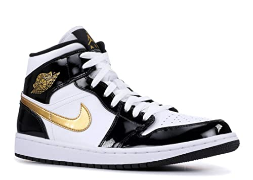 large discount amazon really comfortable Amazon.com | Nike Mens Jordan 1 Mid Black Gold Patent ...