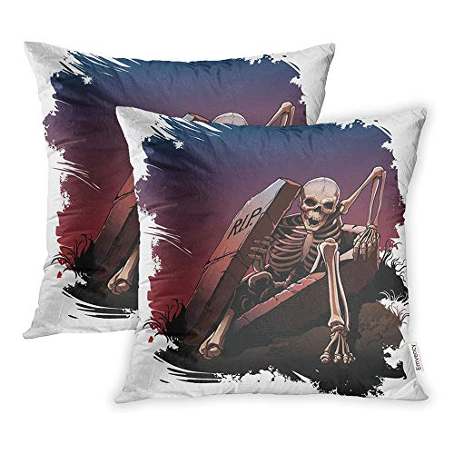 Emvency Set of 2 Throw Pillow Covers Print Polyester Zippered Awake Skeleton from Coffin Body Bones Dark Pillowcase 20x20 Square Decor for Home Bed Couch Sofa -