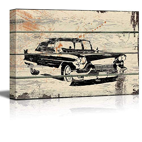 (ZOE STORE Canvas Wall Art Printing Press Design - Classic Car Pontiac Cadillac Artwork - Rustic Canvas Wall Art Home Decor - 12