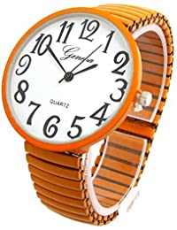 Orange Super Large Face Stretch Band Fashion Watch