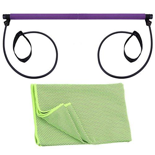 KaKing Pilates Studio Kit - Pilates Bar with Power Resistance Bands + Cooling Sports Towel