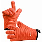 PASBUY P7089G Silicone Oven Mitts Extra-Long Quilted Cotton Lining, Heat Resistant Kitchen Potholder Gloves for Oven, Outdoor BBQ Grill, Fireplace Camping-A Pair (Orange)