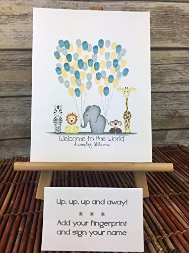 Customizable jungle safari animal fingerprint guest book alternative with jungle animals holding balloon strings -