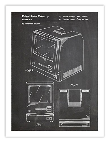 First Mac Computer 1986 Patent Art Handmade Giclée Gallery Print (18x24)(blackboard) Apple Poster Print