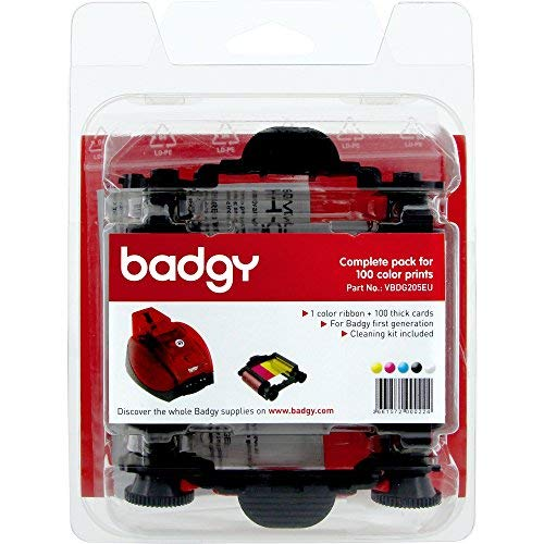 BADGY CONSUMABLE PACK INCL CLR RIBBON 100 CARDS 30MIL 0.76MM ()