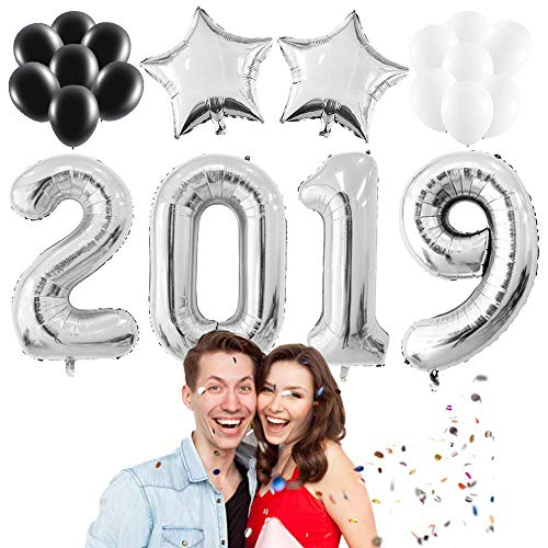 2019 Balloons Silver Decorations Banner Kit,Large Silver 2019 Balloons |Silver Stars Balloons |Black White Latex Balloons for Independence Day Graduations Party Wedding Birthday(20 Pack)]()