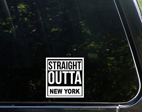 Straight Outta New York  4  X 4   Die Cut Decal  Bumper Sticker For Windows  Cars  Trucks  Laptops  Etc