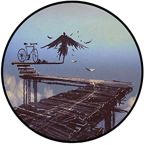 Printing Round Rug,Fantasy World,Surreal Art Print Bird Man with Eagle Wings Fly over the Clouds Bike Illustration Mat Non-Slip Soft Entrance Mat Door Floor Rug Area Rug For Chair Living Room,Brown ()