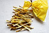 "Astra shop 100pcs 3"" W x 4.5"" L Clear Pop Favor Mini Party Treat Bags and 100pcs 3.4"" Gold Metallic Twist Ties For Cake Pops, Candy, Cookies, Lollipops & More Packaging"
