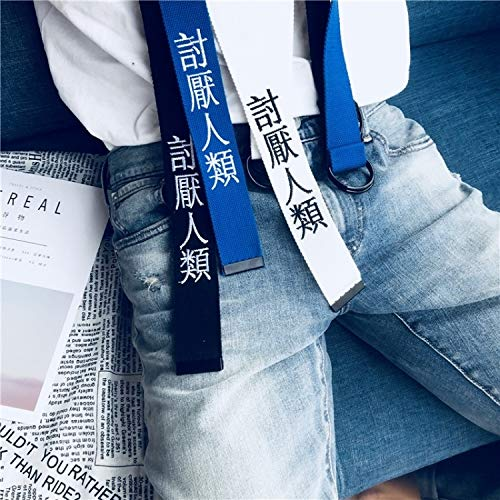 2018 Summer Korean Influx People Retro Style Text Embroidery Belt Double Loop Buckle Canvas Belt Men Women Belt Blue