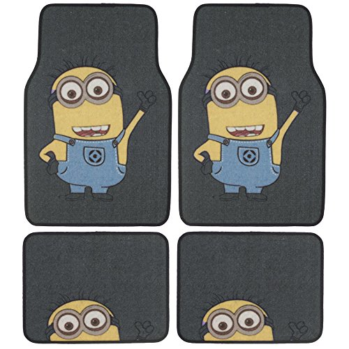 Despicable Me Minions Car Floor Mats - 4 PC Auto Floor Mats, Front Rear Full Set, Universal Fit, WB Official Products