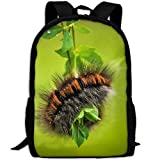 CY-STORE Nature Animal Green Insect Moth Outdoor Shoulders Bag Fabric Backpack Multipurpose Daypacks For Adult