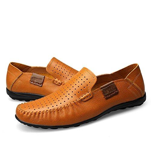 Zapatos Mocasines Ponerse Coche Hombre Conducción Cuero Shenn Comodidad Marrón1 fpS0ng