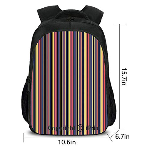 3D Printing Customized Backpack,Colorful Geometric Stripes Lines Vintage Retro Fashionable Design Art Print,School Bag :Suitable for Men and Women,School,Travel,Daily use,etc.Multicolor