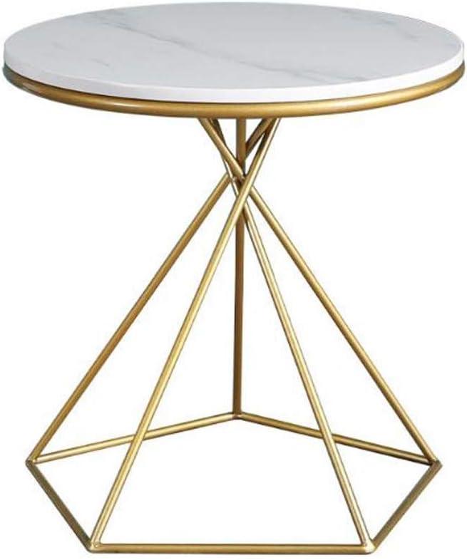2020 Bijzettafel, koffietafel, bijzettafel, moderne ronde zijbank, kleine koffie-thee-tafel voor huis, woonkamer, kantoor - 15,7 inch cirkel marmer C dVmWUXW