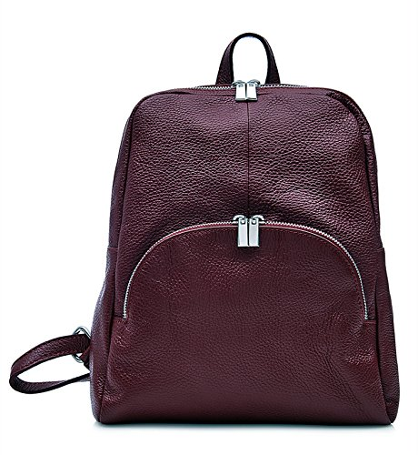 Leather Jinne Di Backpack Soft 100 Italian Burgundy Montte Italian Leather CqAwxCt