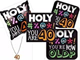 Holy Bleep You Are 40! 40th Birthday party Supplies including Plates, Napkins, Balloon and Bonus Necklace for 16 Guests