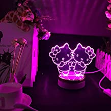 BIRTHDAYS GIFTS FOR GIRLS 3D LED Night Light, E-Global 3 Colors with SWITCH CONTROLLER Children Room Decorative Night Light (Twin Hello Kitty)