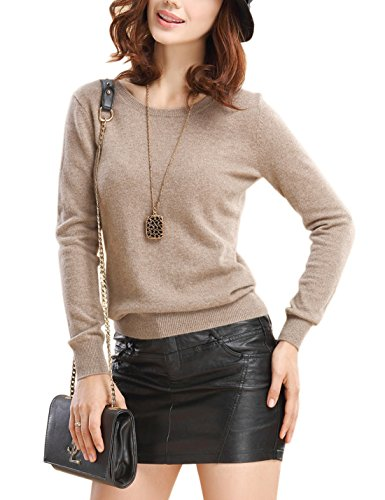 Tan Pullover Sweater (Tanming Women's Fashion Slim Round Neck Short Cashmere Shirt Pullover Sweaters (Large, Tan))