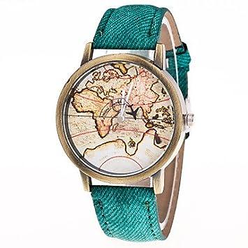 Relojes Hermosos, Hombre Mujer Reloj de Moda Chino Cuarzo Reloj Casual Piel Banda Vintage Mapa