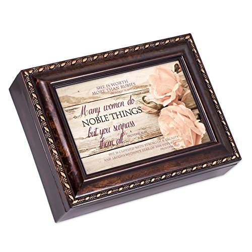 Proverbs 31 Woman Distressed Burlwood Finish Jewelry Music Box Plays Amazing Grace