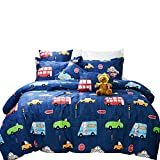 Brandream Boys Bedding Set Full Size Blue Cars Pattern Toddler Kids Duvet Cover Set 3-Piece(No Comforter Included)
