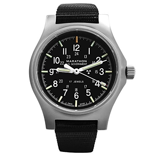 MARATHON WW194003SS GPM Swiss Made Military Issue Field Watch (General Purpose Mechanical) ETA 2801 Movement, Tritium and Sapphire Glass (US Government)