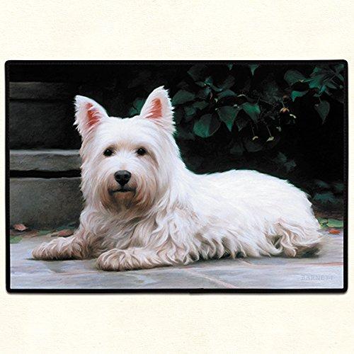 - Westie Dog On Porch Fiddlers Elbow Designer Door Mat, 18