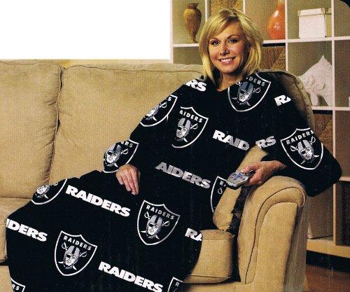 Oakland Raiders Comfy Throw - NFL Football Oakland Raiders Comfy Throw ~ Blanket with Sleeves - Large Unisex Adult Size