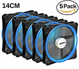 600mm fan - upHere Halo Ring Led 140mm case fan 5 PACK Hydraulic Bearing quiet cooling case fan for computer MIRAGE Color LED fan 3 pin with Anti Vibration Rubber Pads(Blue)/14CMB3-5