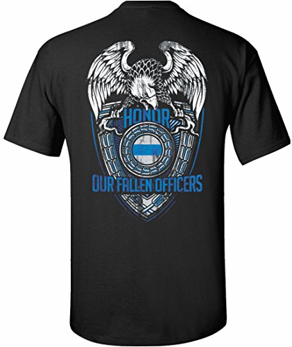 Patriot Apparel Honor Fallen Officers Thin Blue Line Police Tee T-Shirt Hero Short Sleeve (3X-Large, (Honor Short Sleeve Tee)