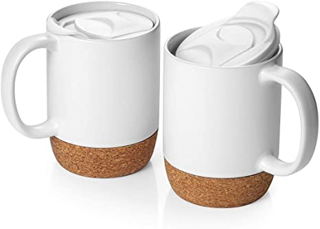 Dowan Coffee Mugs Set Of 2 15 Oz Ceramic Mug With Insulated Cork Bottom And Splash Proof Lid Large Coffee Mug With Handle For Men Women Matte White Kitchen Dining