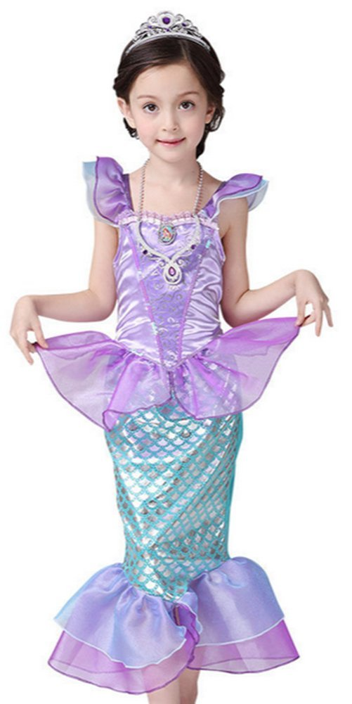 CANIS Little Girls Onesie Ruffle Sleeve Mermaid Princess Fancy Costume  sc 1 st  Amazon UK & Mermaid Costumes: Amazon.co.uk