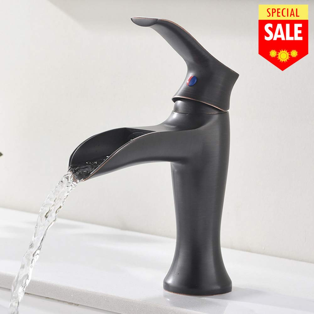VESLA HOME Single Handle One Hole Oil Rubbed Bronze Finish Large Spout Waterfall Bathroom Vanity Faucet, Lavatory Bathroom Sink Faucet