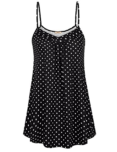 Timeson Camisole for Women, Women's V Neck Camisole Tank Tops Flowy Casual Summer Fashion Polka Cami Tunic Spaghetti Strap Tops Black White ()