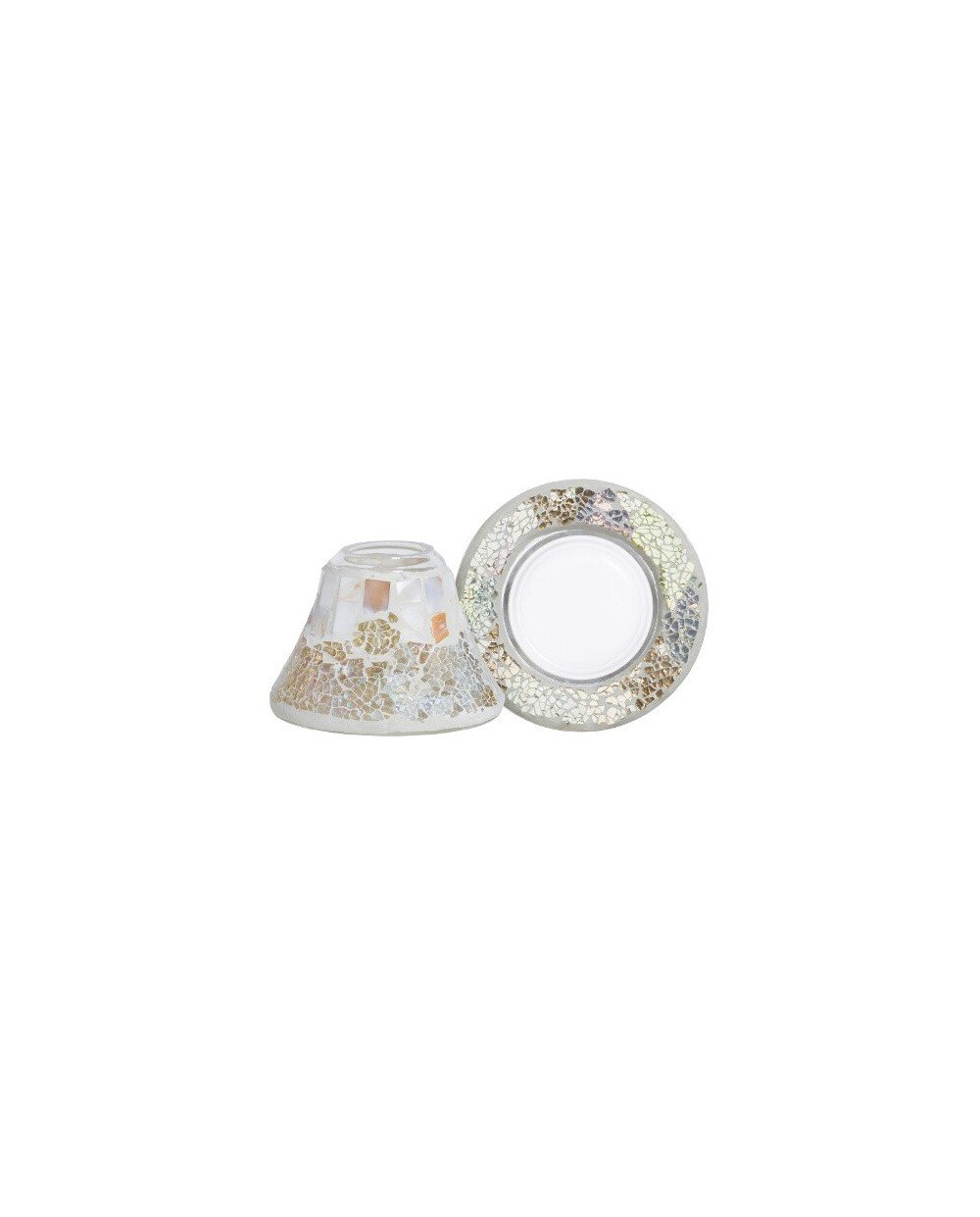 YANKEE CANDLE - YANKEE GOLD AND PEARL SMALL SHADE AND TRAY - PS-YC1521547