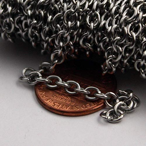 30 feet Stainless Steel Chain Surgical Sturdy Cable Chain - 4.2x3.4mm 0.8mm Unsoldered Link Bulk Chain