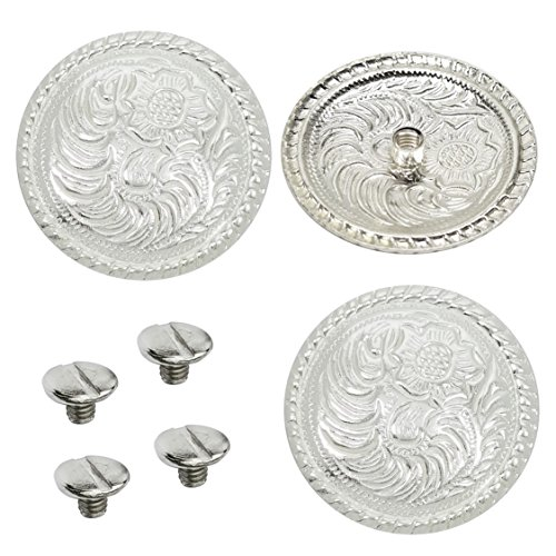 "Set of 4, 1-1/2"" Western Bright Engraved Concho W/ 1/4"" Chicago Screw Back (Included)"