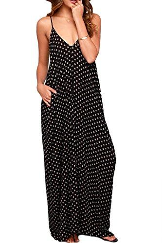 YACUN Women's Point V-Neck Pocket Maxi Beach Slip Dress Black (Yacun Women Maxi Dress)