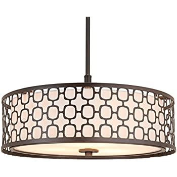 Revel Harper 18  3-Light Double Drum Chandelier w/ Lattice Outer Metal Shade  sc 1 st  Amazon.com & Canarm ICH320A03ORB20 Monica 3-Light Chandelier Oil Rubbed Bronze ... azcodes.com