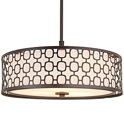 "Kira Home Harper 18"" 3-Light Double Drum Chandelier w/Lattice Outer Metal Shade + Inner White Glass Diffuser, Oil-Rubbed Bronze Finish - MODERN STYLE: Chandelier features an oil-rubbed bronze finish and a dual-drum shade design: outer metal lattice shade surrounding an inner fabric shade. Allow this intricate, modern light to shine bright in your home DIMENSIONS: Chandelier: 8"" (H) x 17.5"" (D), Canopy: 1.75"" (H) x 5"" (D), Metal Shade: 5.25"" (H) x 17.5"" (D), Inner Shade: 5"" (H) x 15.5"" (D), Includes (1) 12"" downrod & 72"" of adjustable chain for desired hanging height. Dimmer & sloped ceiling compatible UL LISTED FOR YOUR SAFETY: UL listed for dry locations. Uses (3) LED, CFL, or up to 60W traditional incandescent medium base bulb. Bulb sold separately - kitchen-dining-room-decor, kitchen-dining-room, chandeliers-lighting - 51Pa6d1hwBL. SS400  -"