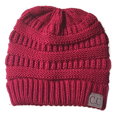 Beanie Cotton Stretch (Sasarh Women?s Ponytail Messy Bun Cotton Beanie Winter Warm Stretch Cable Hat Thick Knit Skull Cap)
