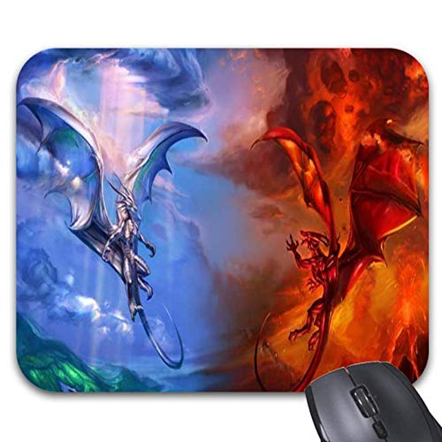 Dragons Ice and Fireon Black Mouse Pads - Stylish Office Accessories (9.84 x 7.87in) from Julyou