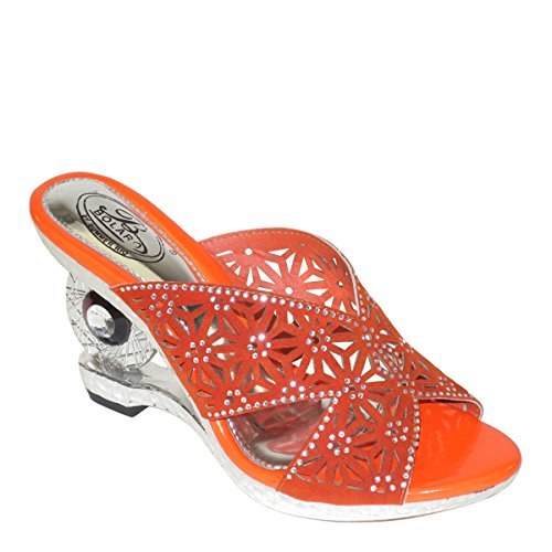 Nuovo Brieten Womens Floreale Cut-out Con Strass Zeppa Con Zeppe Sandali In Corallo