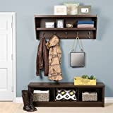 Prepac Floating Entryway Shelf with Bench in Espresso