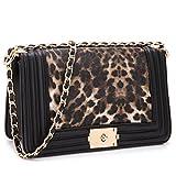 Dasein Women's Designer Quilted Crossbody Bags Twist Lock Shoulder Bags Satchel Handbags w/ Chain Strap (2457 Leopard medium size)