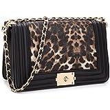 Dasein Women's Designer Quilted Crossbody Bags Twist Lock Shoulder Bags Satchel Handbags w/Chain Strap (2457 Leopard medium size)