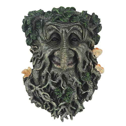 JHP Tree Face Sculpture, Hand-Painted Greenman Tree Face