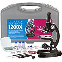 AMSCOPE-KIDS M30-ABS-KT1 Beginner Microscope Kit, LED and Mirror Illumination, 120x - 1200x Six Magnifications, Metal Frame and Base, Includes 48-Piece Accessory Set and Case