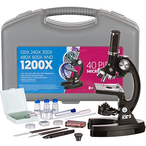 AmScope-KIDS 120X-240X-300X-480X-600X-1200X Educational Beginner Biological Microscope Kit with Metal Frame